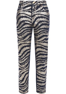 Just Cavalli Woman Cropped Metallic Zebra-print High-rise Straight-leg Jeans Dark Denim