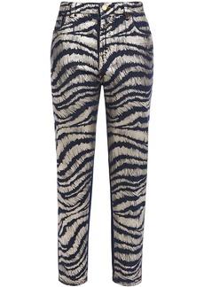 Just Cavalli Woman Cropped Metallic Zebra-print High-rise Straight-leg Jeans Dark Denim