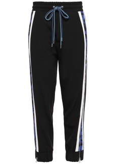 Just Cavalli Woman Cropped Striped Stretch-crepe Track Pants Black