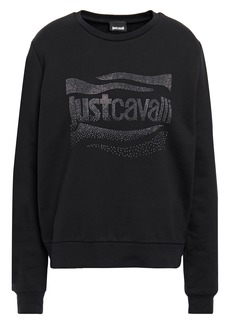 Just Cavalli Woman Crystal-embellished French Cotton-terry Sweatshirt Black