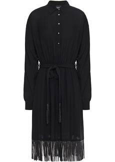Just Cavalli Woman Crystal-embellished Fringed Crepe Shirt Dress Black