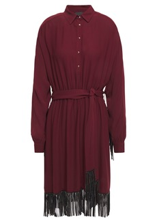 Just Cavalli Woman Crystal-embellished Fringed Crepe Shirt Dress Plum