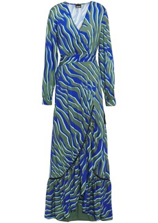 Just Cavalli Woman Crystal-embellished Printed Woven Maxi Wrap Dress Army Green