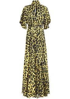 Just Cavalli Woman Tie-neck Cutout Leopard-print Satin Maxi Dress Animal Print