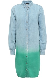 Just Cavalli Woman Dégradé Denim Mini Shirt Dress Light Denim