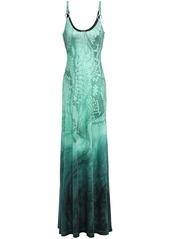 Just Cavalli Woman Dégradé Snake-print Stretch-jersey Gown Jade