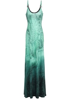 Just Cavalli Woman Dégradé Snake-print Stretch-jersey Gown Jade