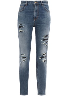 Just Cavalli Woman Distressed Faded High-rise Slim-leg Jeans Mid Denim
