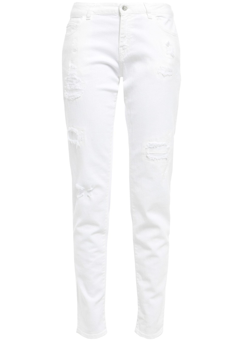 Just Cavalli Woman Distressed Mid-rise Slim-leg Jeans White