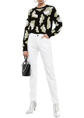 Just Cavalli Woman Distressed Mid-rise Slim-leg Jeans White