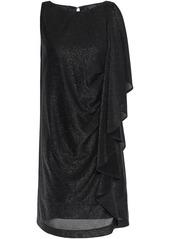 Just Cavalli Woman Draped Metallic Jersey Mini Dress Black
