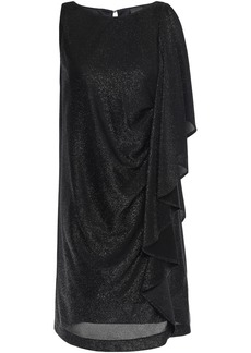 Just Cavalli Woman Draped Metallic Jersey Mini Dress Black