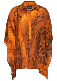 Just Cavalli Woman Draped Snake-print Crepe Blouse Orange