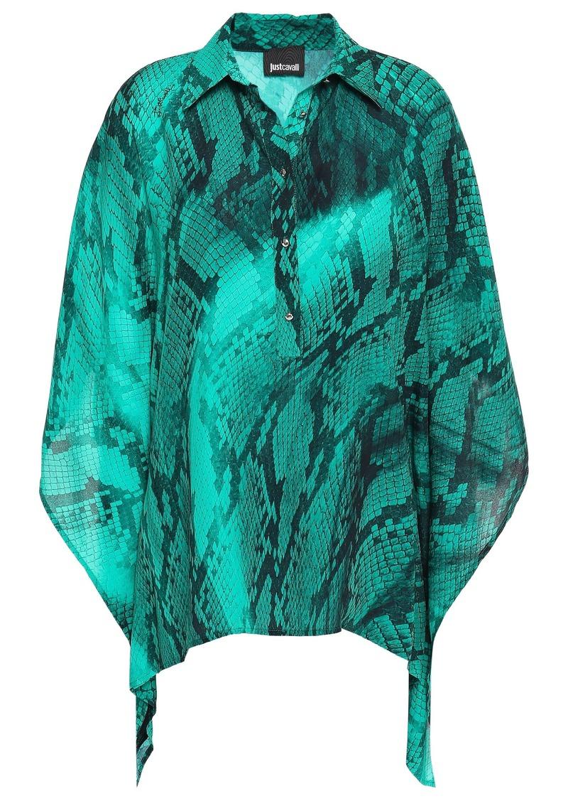 Just Cavalli Woman Draped Snake-print Crepe Blouse Jade