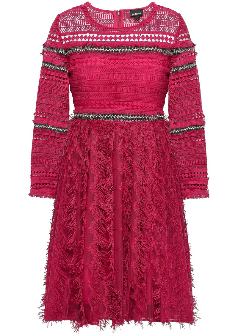 Just Cavalli Woman Embellished Crochet And Embroidered Tulle Mini Dress Fuchsia