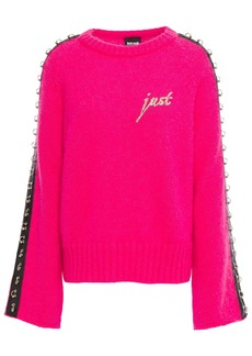 Just Cavalli Woman Embellished Embroidered Neon Mohair-blend Sweater Bright Pink