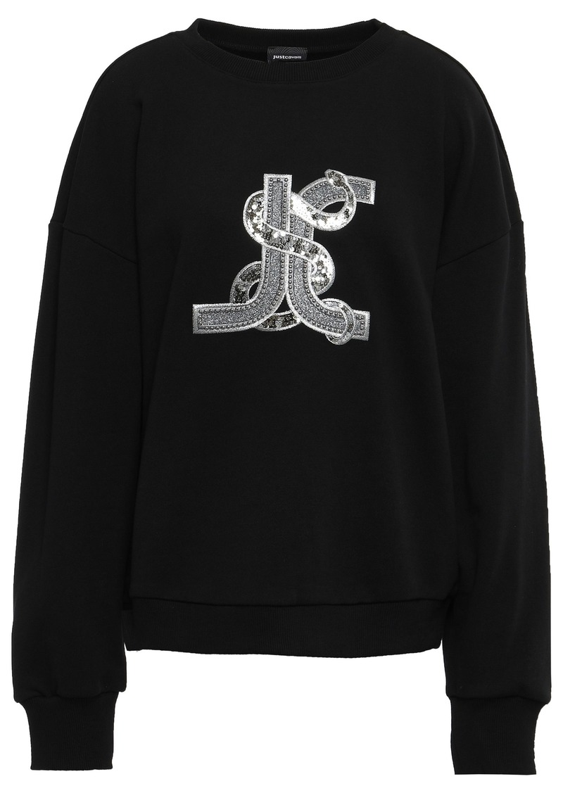 Just Cavalli Woman Embellished French Cotton-terry Sweatshirt Black
