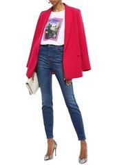 Just Cavalli Woman Embellished High-rise Slim-leg Jeans Mid Denim