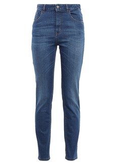 Just Cavalli Woman Embellished High-rise Slim-leg Jeans Mid Denim