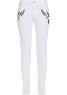 Just Cavalli Woman Embellished Mid-rise Skinny Jeans White
