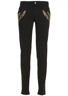 Just Cavalli Woman Embellished Mid-rise Slim-leg Jeans Black
