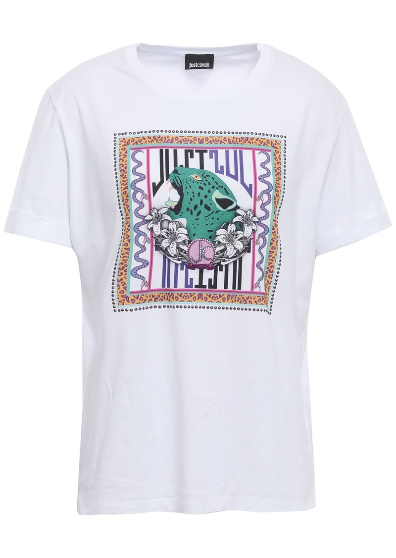 Just Cavalli Woman Embellished Printed Cotton-jersey T-shirt White