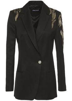 Just Cavalli Woman Bead-embellished Ottoman Blazer Black