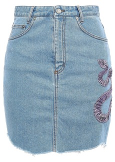 Just Cavalli Woman Embroidered Denim Mini Skirt Mid Denim