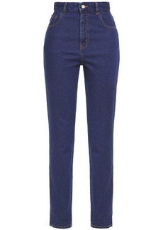 Just Cavalli Woman Embroidered High-rise Slim-leg Jeans Mid Denim