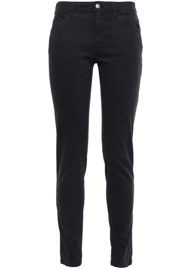 Just Cavalli Woman Embroidered Mid-rise Slim-leg Jeans Black