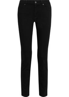 Just Cavalli Woman Faux Leather-paneled Mid-rise Slim-leg Jeans Black