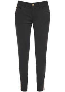 Just Cavalli Woman Faux Leather-trimmed Mid-rise Slim-leg Jeans Black