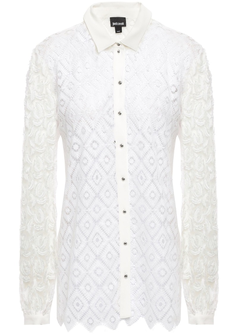 Just Cavalli Woman Fil Coupé Tulle-paneled Macramé Lace Shirt White
