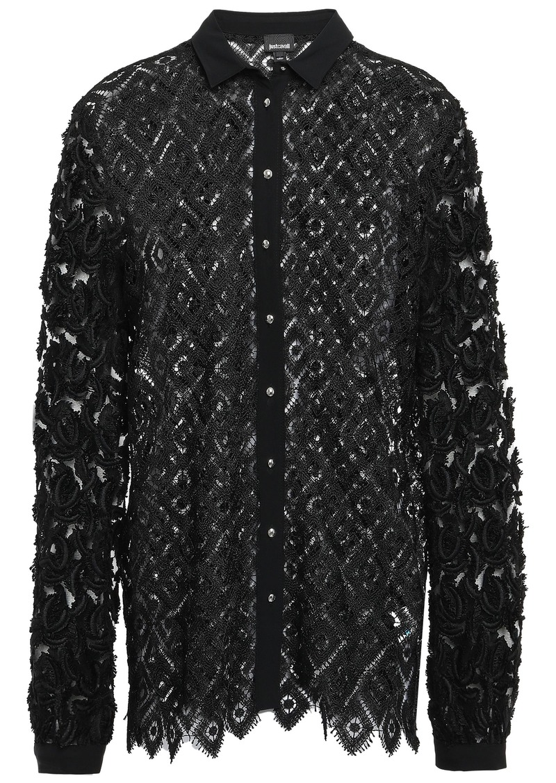 Just Cavalli Woman Fil Coupé Tulle-paneled Macramé Lace Shirt Black