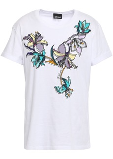 Just Cavalli Woman Floral-print Stretch Cotton-jersey T-shirt White