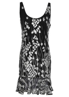 Just Cavalli Woman Fluted Sequin-embellished Georgette Mini Dress Black