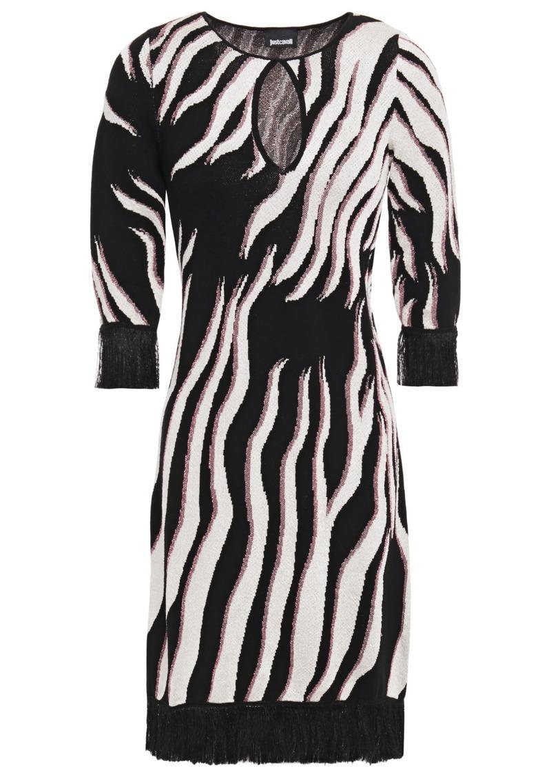 Just Cavalli Woman Fringe-trimmed Cutout Metallic Zebra-jacquard Mini Dress Animal Print