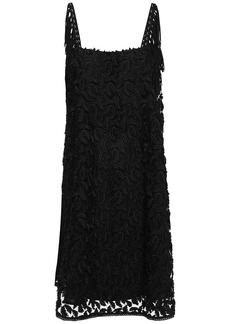 Just Cavalli Woman Fringe-trimmed Fil Coupé Tulle Mini Dress Black