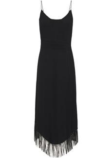 Just Cavalli Woman Fringed Cady Midi Dress Black