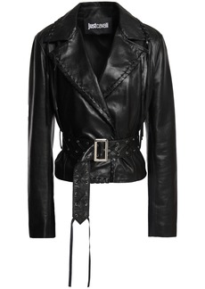 Just Cavalli Woman Fringed Leather Jacket Black