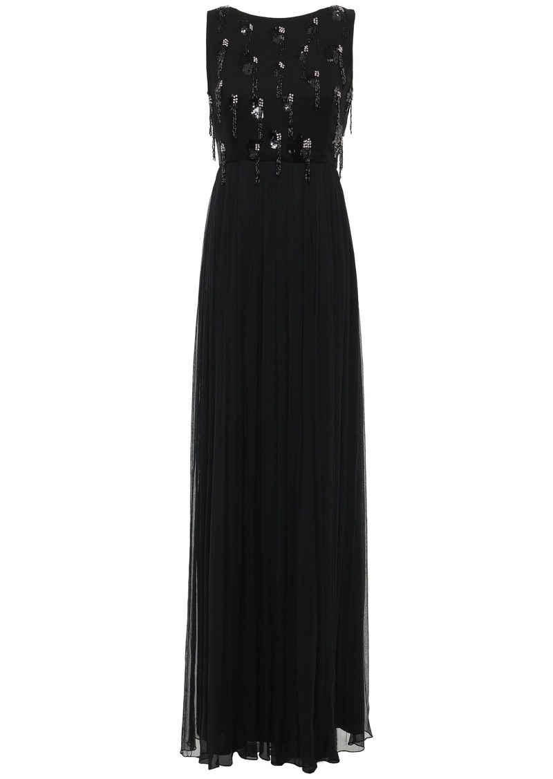 Just Cavalli Woman Gathered Embellished Georgette Gown Black