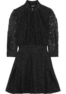 Just Cavalli Woman Gathered Metallic Lace Mini Dress Black