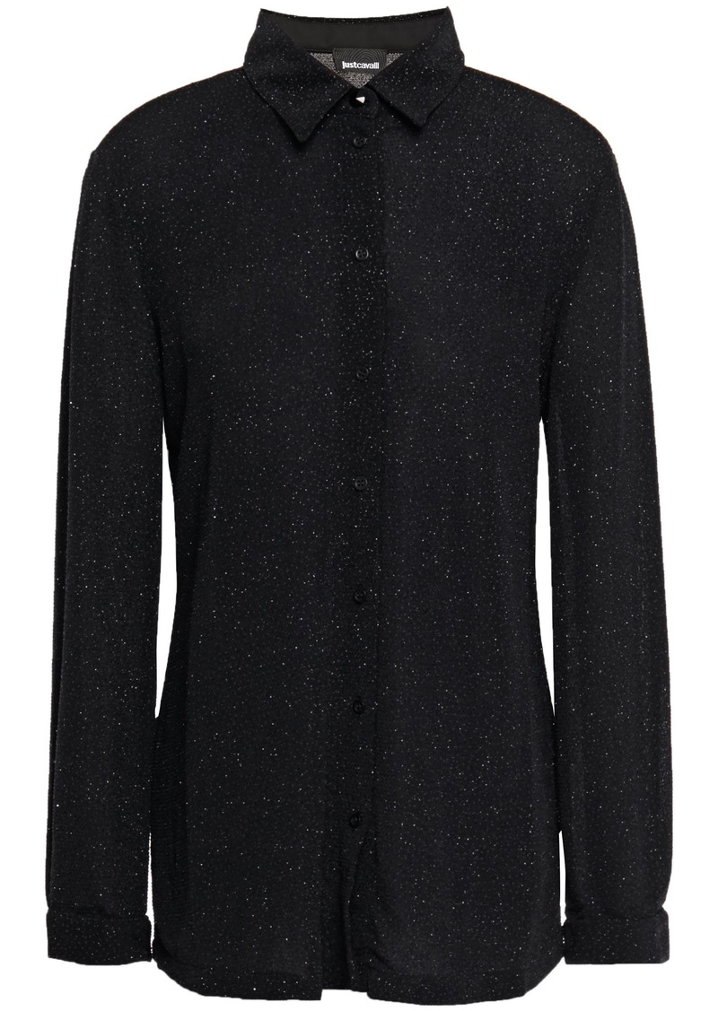 Just Cavalli Woman Glittered Stretch-jersey Shirt Black