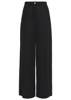 Just Cavalli Woman Glittered Stretch-knit Wide-leg Pants Black