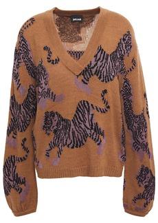 Just Cavalli Woman Intarsia-knit Sweater Light Brown