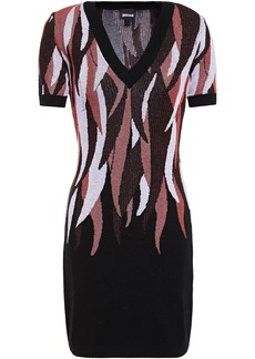 Just Cavalli Woman Jacquard-knit Mini Dress Black