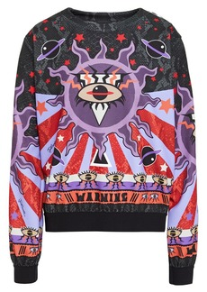Just Cavalli Woman Jacquard-trimmed Printed Stretch-jersey Sweatshirt Lavender