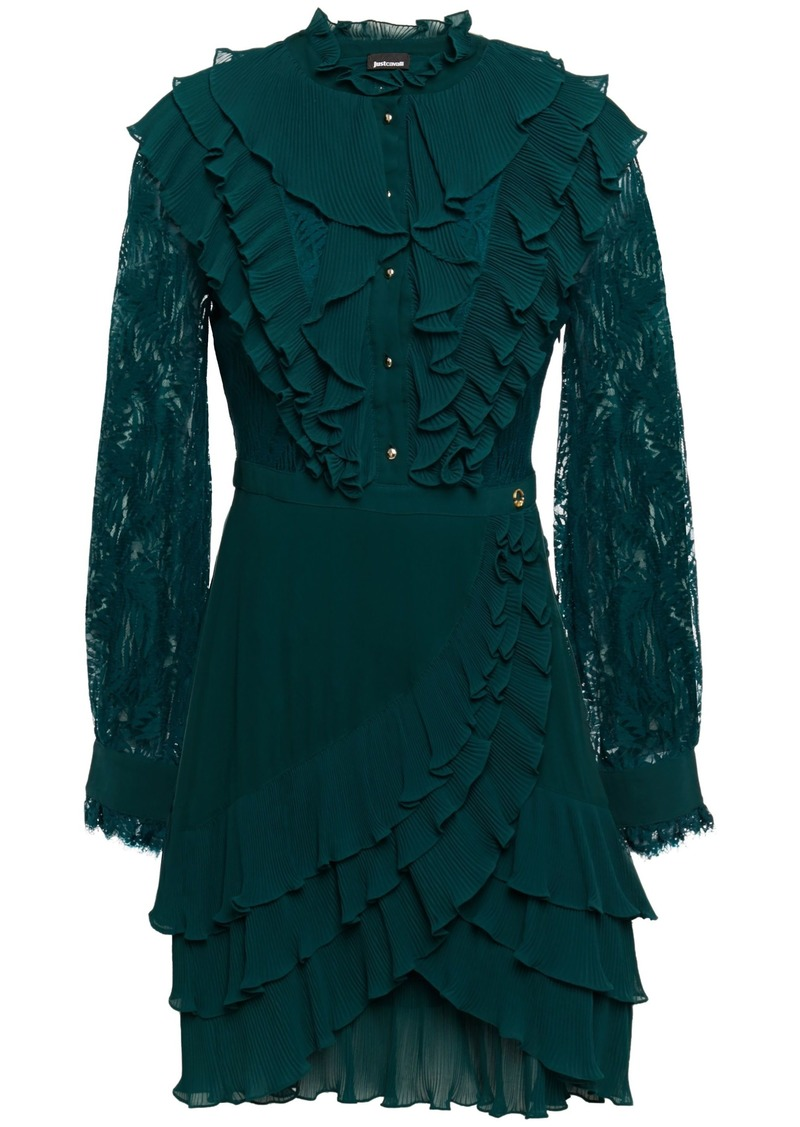 Just Cavalli Woman Lace-paneled Ruffled Georgette Mini Dress Emerald