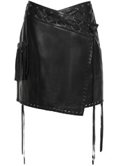 Just Cavalli Woman Lace-up Fringe-trimmed Leather Mini Wrap Skirt Black