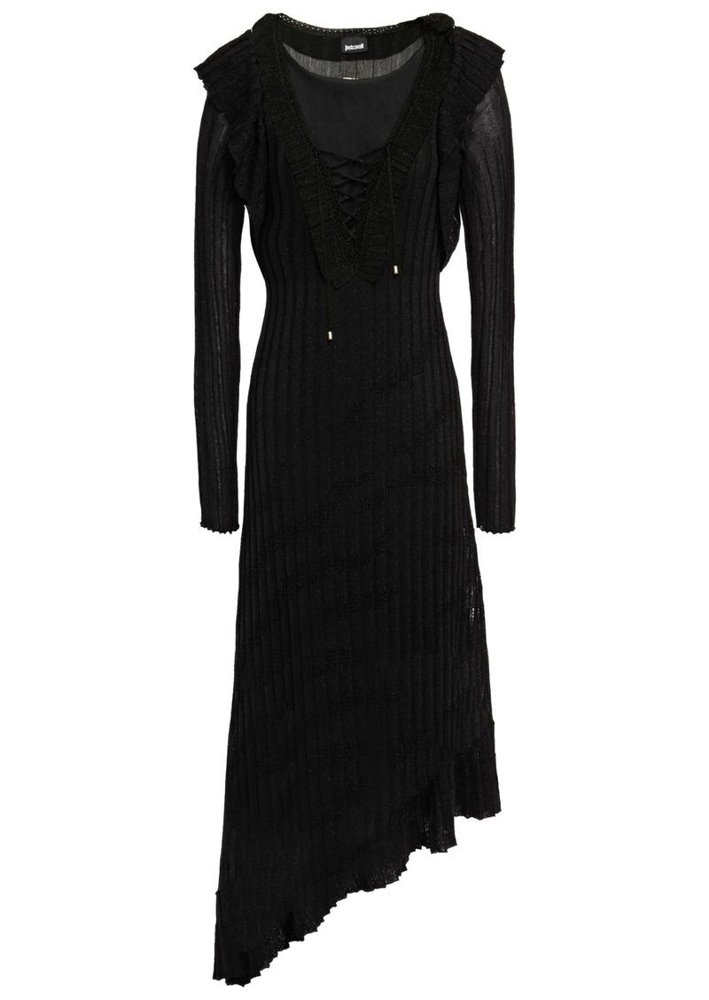 Just Cavalli Woman Lace-up Metallic Ribbed-knit Midi Dress Black